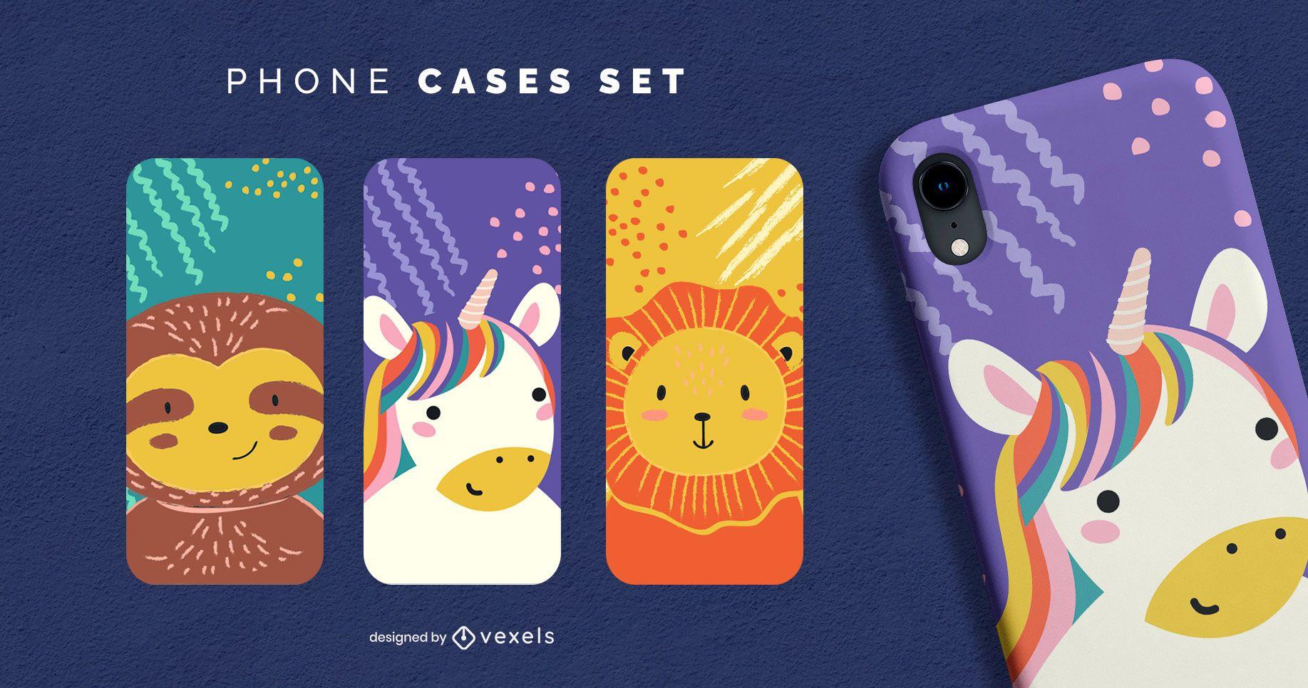 Animals cute phone case set