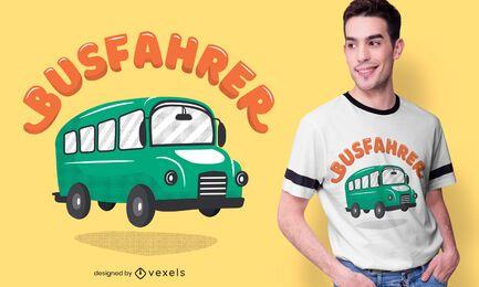 Diseño de camiseta alemana de conductor de autobús