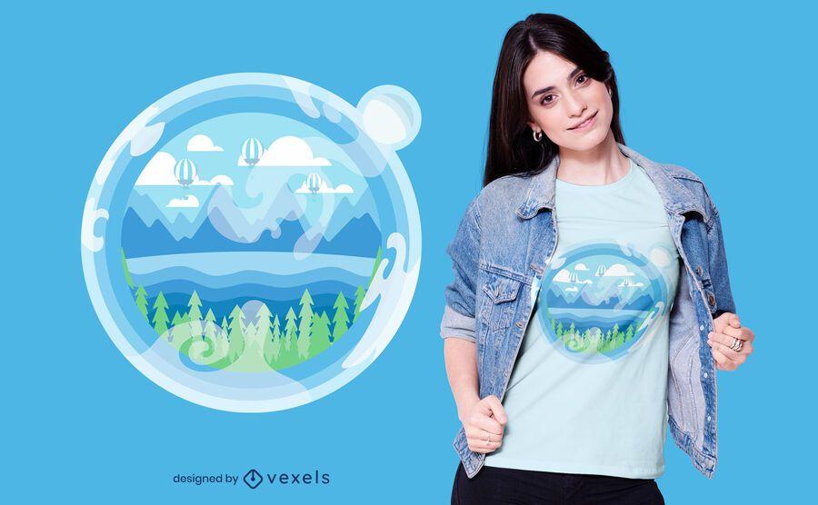Diseño de camiseta Bubble Earth