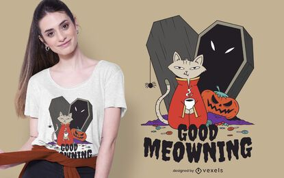 Coffee Halloween Cat T-shirt Design