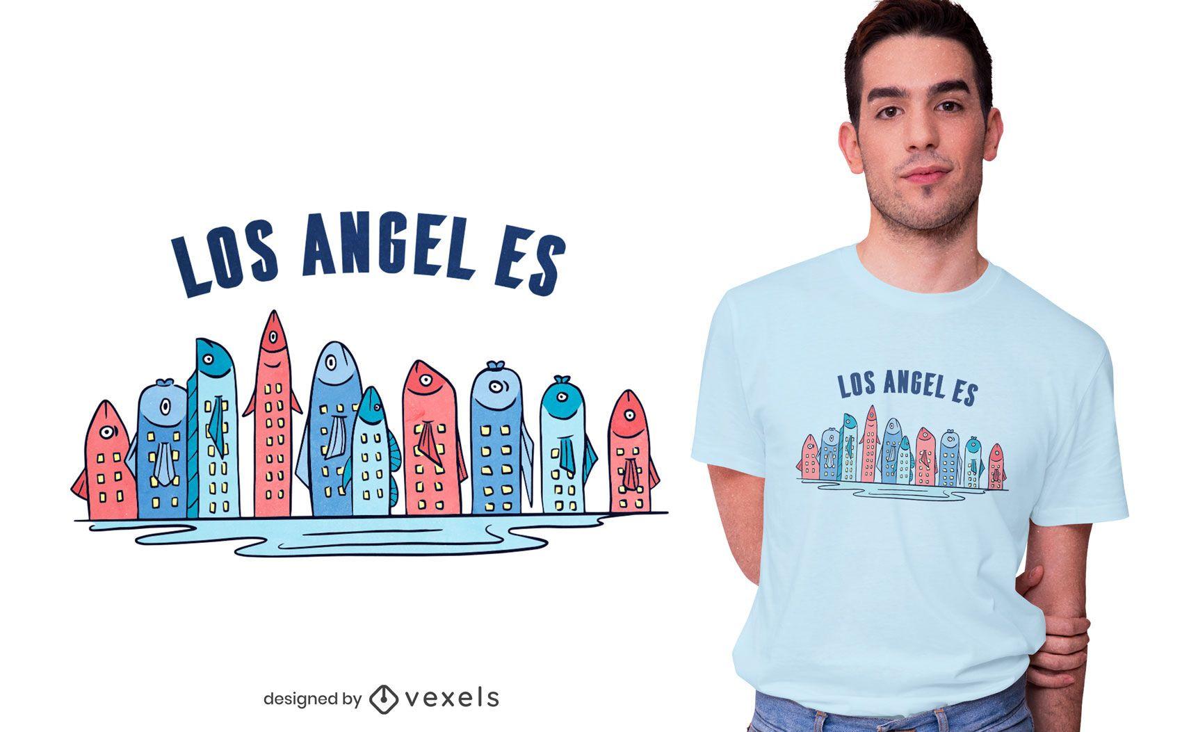 Diseño de camiseta Fish Skyline