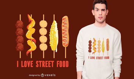 Diseño de camiseta Street Food Love