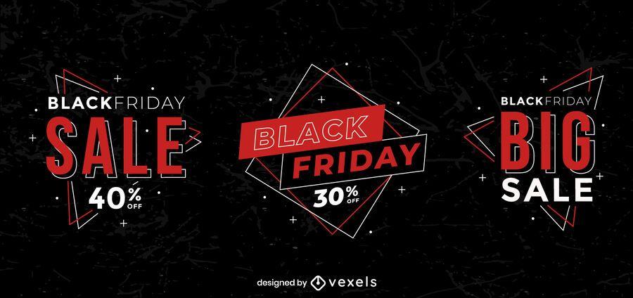 Conjunto geométrico preto de crachá de venda sexta-feira