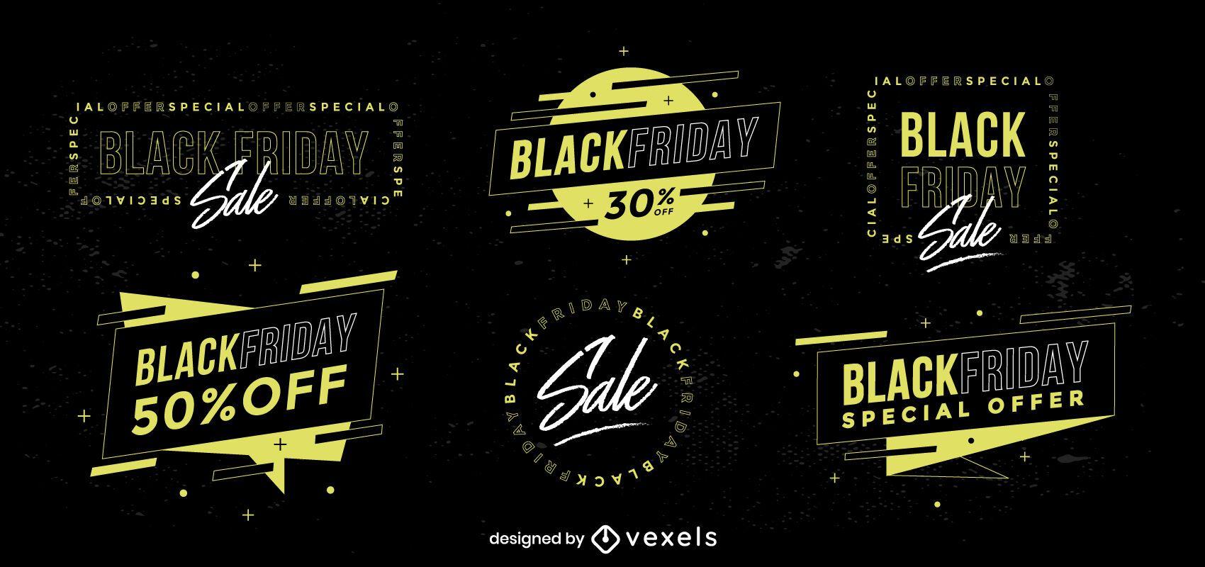 Colección de insignias de rebajas de viernes negro