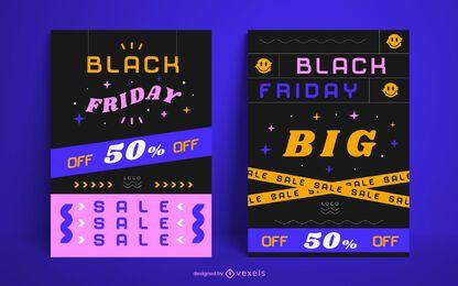 Paquete de carteles de venta de viernes negro