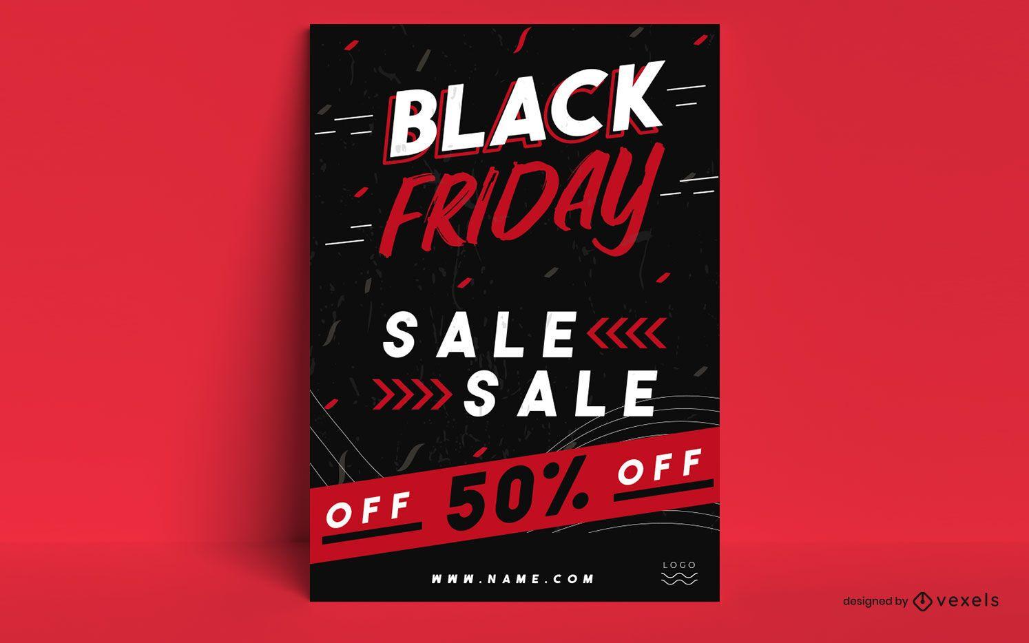 Diseño de cartel promocional de viernes negro