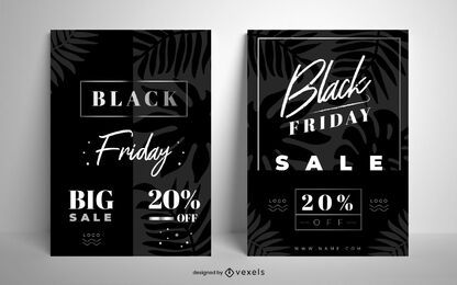 Black friday sale poster set design