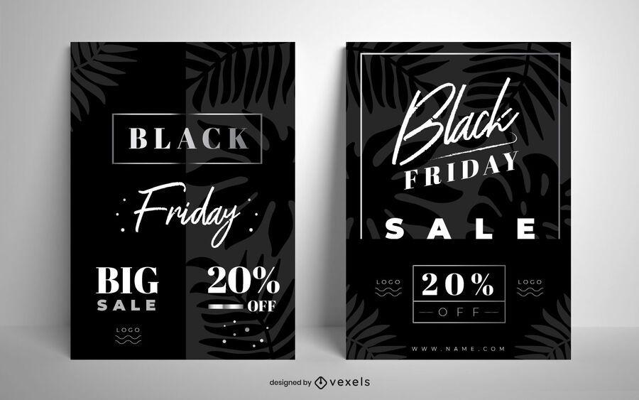 Black friday sale poster set design