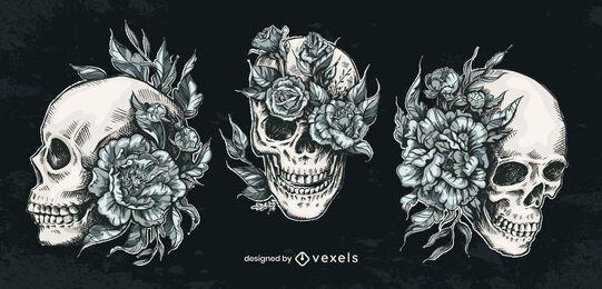 Conjunto de flor de calavera dibujada a mano