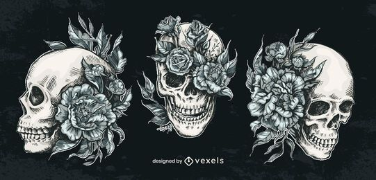 Hand drawn skull flower set