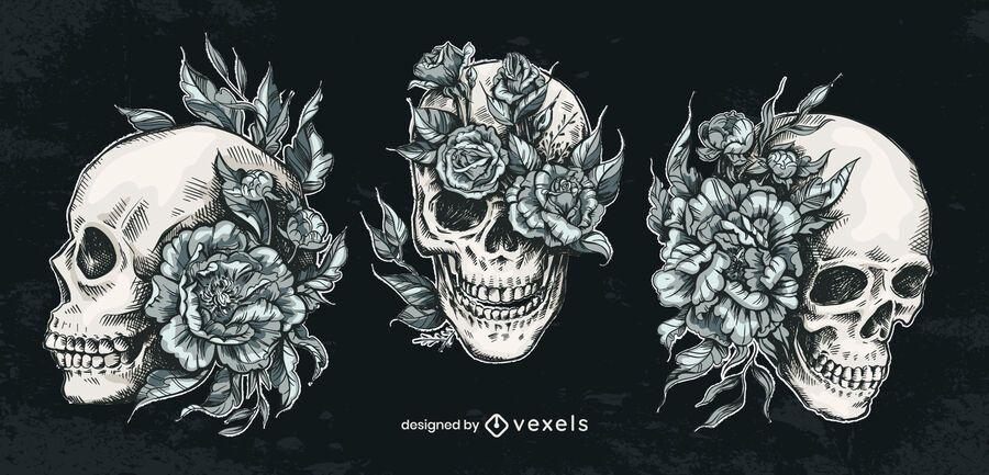 Hand drawn skull flower set