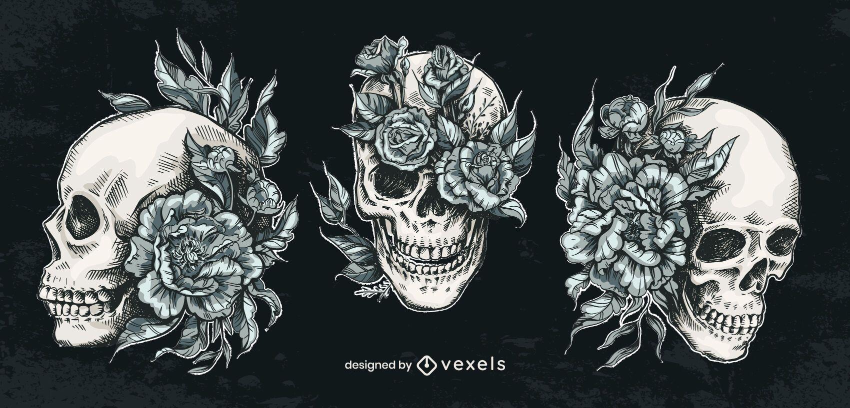 Conjunto de flores de caveira desenhada à mão