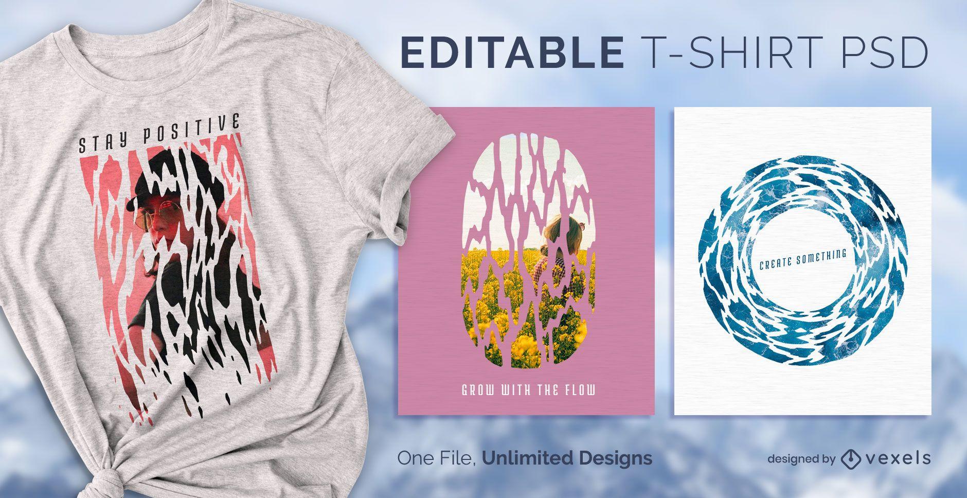 Diseño de camiseta agrietada psd
