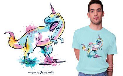 Diseño de camiseta acuarela unicorsaurus