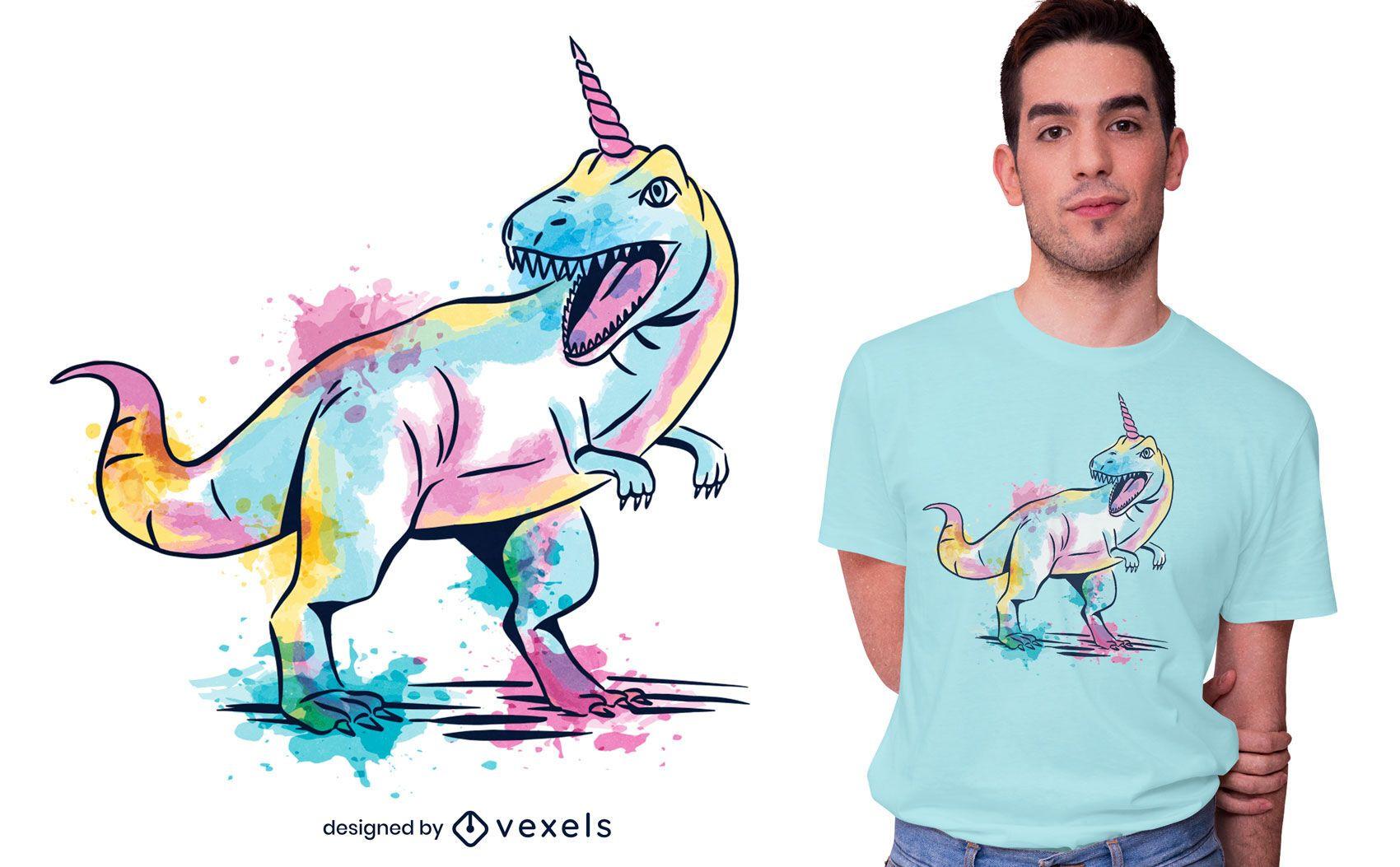 Desenho de t-shirt unicorsaurus aquarela
