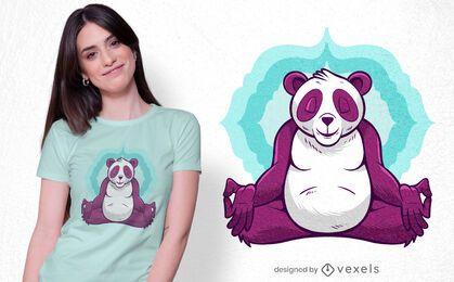 Diseño de camiseta de meditación panda.