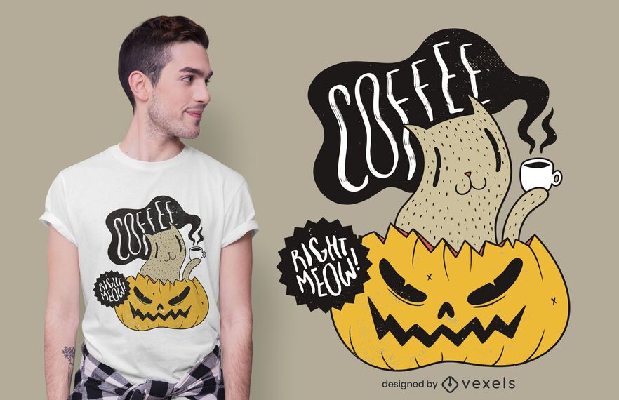 Coffee right meow t-shirt design