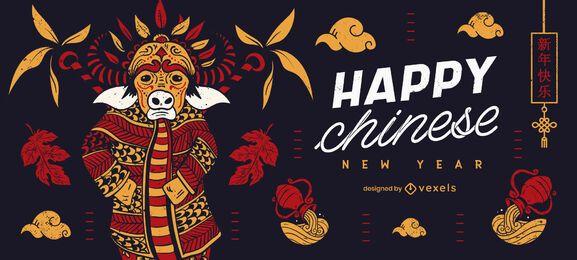Design deslizante de ano novo chinês