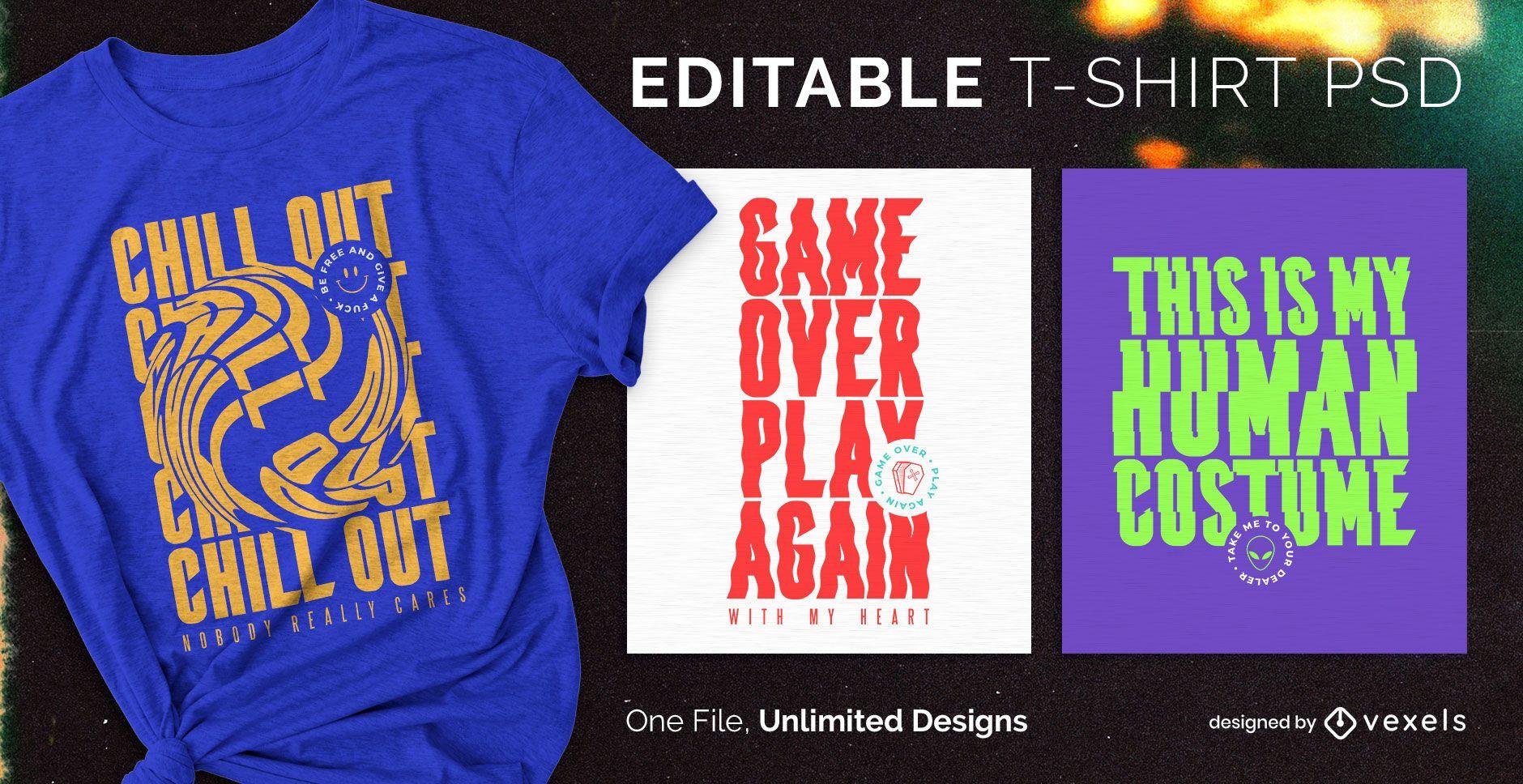 T-shirt escalável com texto trippy psd