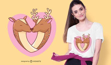 Design de camiseta com coração de cervo