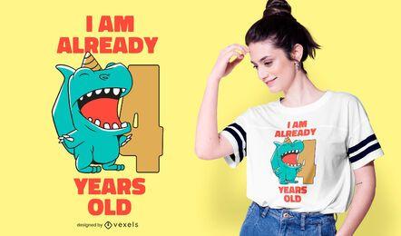Design de camiseta de aniversário de dinossauro