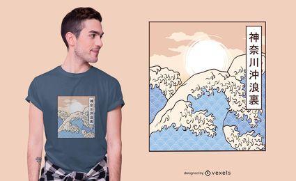 O design de t-shirt das grandes ondas