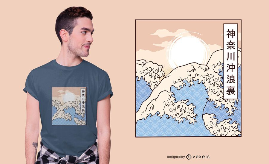 El diseño de la camiseta de la gran ola