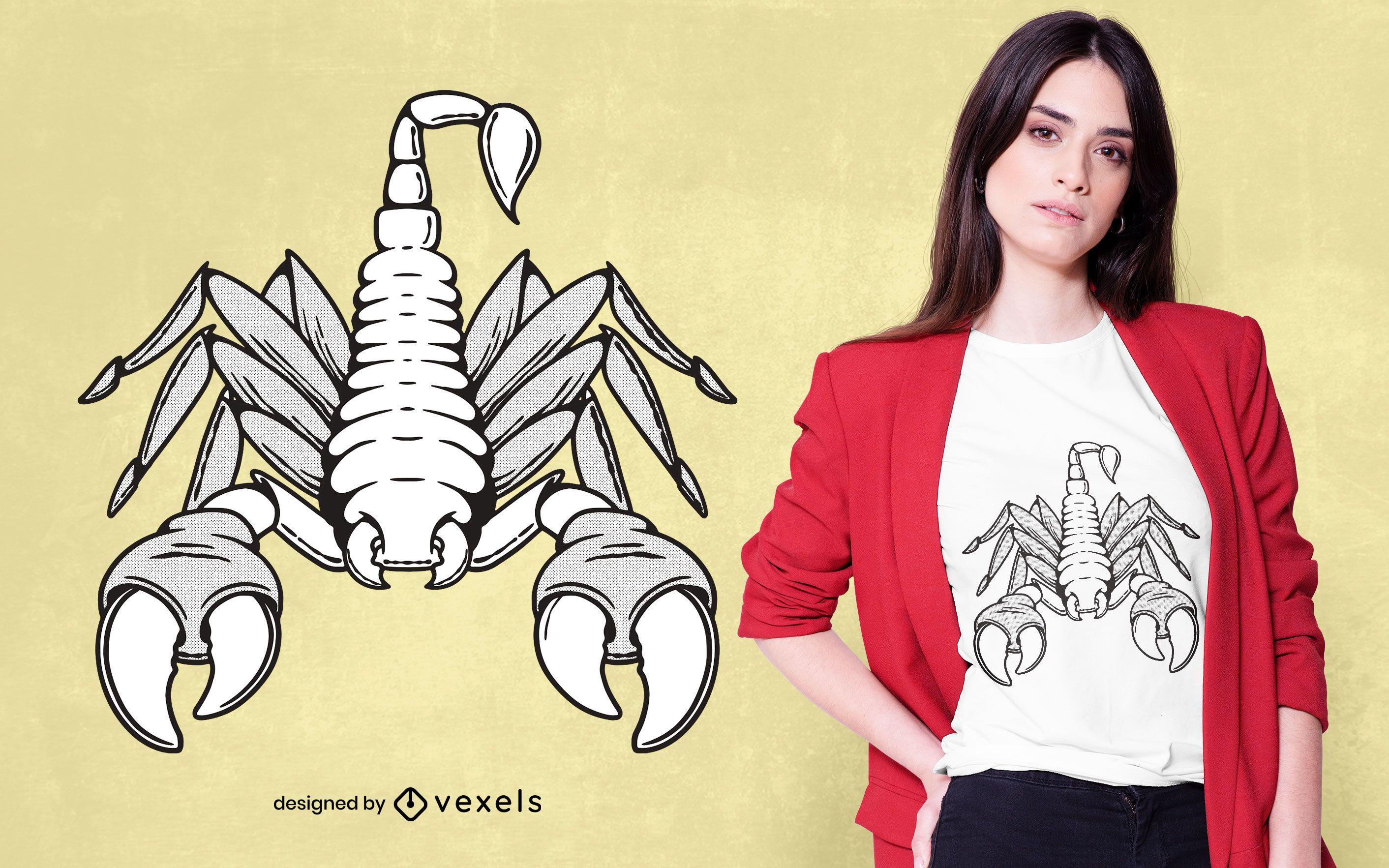 Diseño de camiseta de escorpión blanco y negro.
