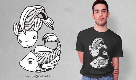 Diseño de camiseta de piscis en blanco y negro.