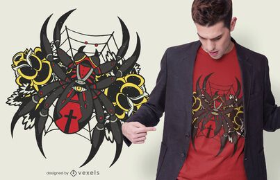 Diseño de camiseta de araña viuda negra