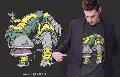 Design de camiseta com armadura de dinossauro