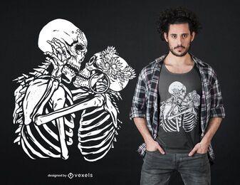 Design de camisetas de esqueletos beijando