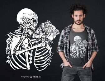 Kissing skeletons t-shirt design