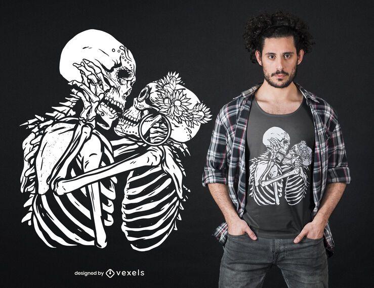 Kissing skeletons t-shirt design