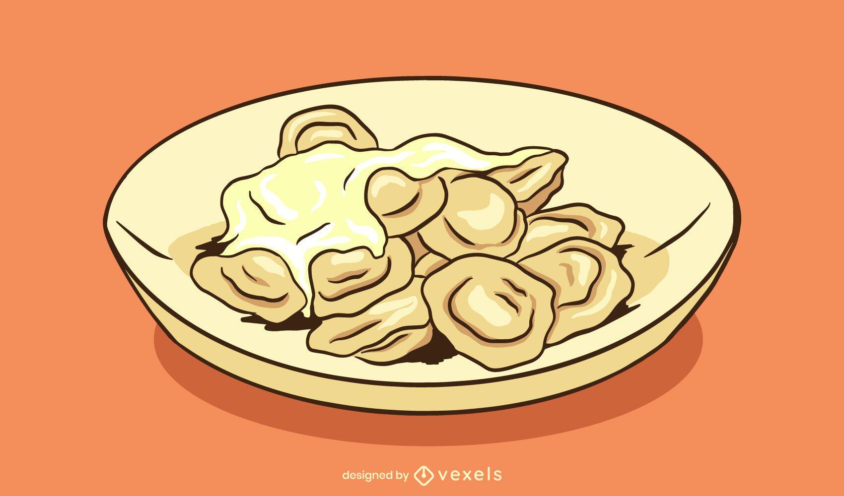 Pelmeni dish illustration design
