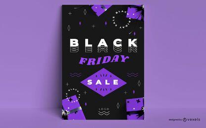 Venta de viernes negro diseño de cartel negro