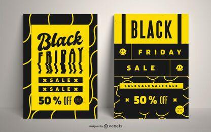 Conjunto de carteles de descuento de viernes negro