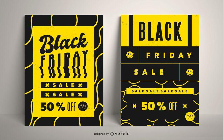 Black friday discount poster set