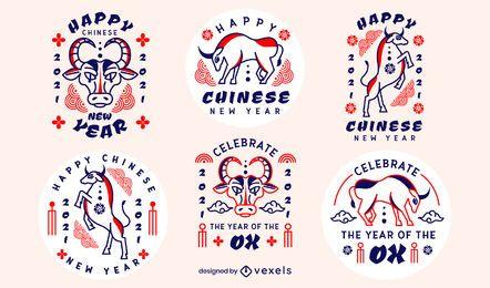 Conjunto de insignias de año nuevo chino