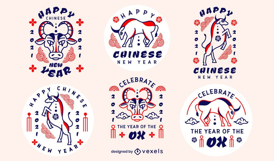Conjunto de distintivo de ano novo chinês