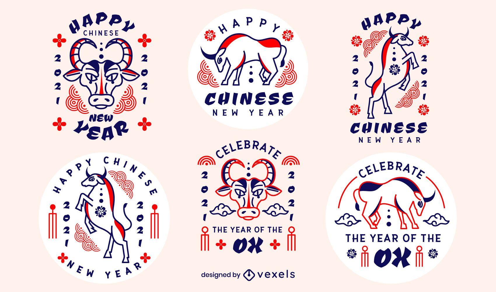 Chinese new year badge set