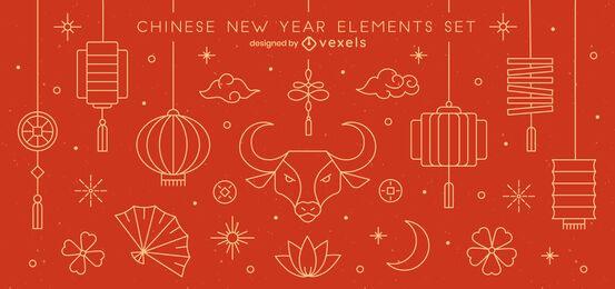 Pacote de elementos do traço do ano novo chinês