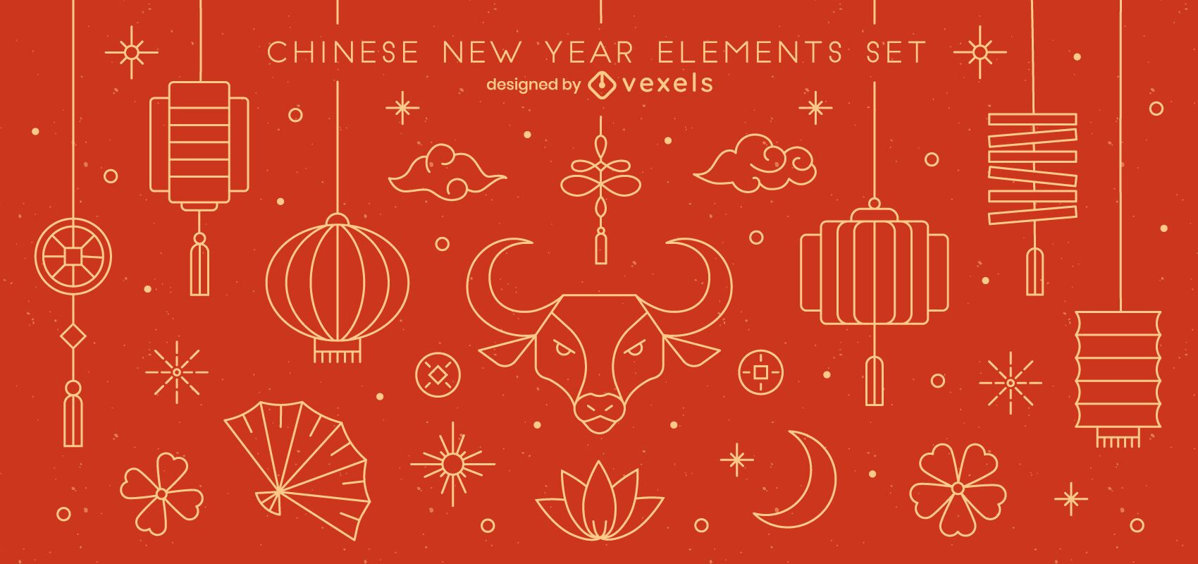Chinese New Year Stroke Elements Pack