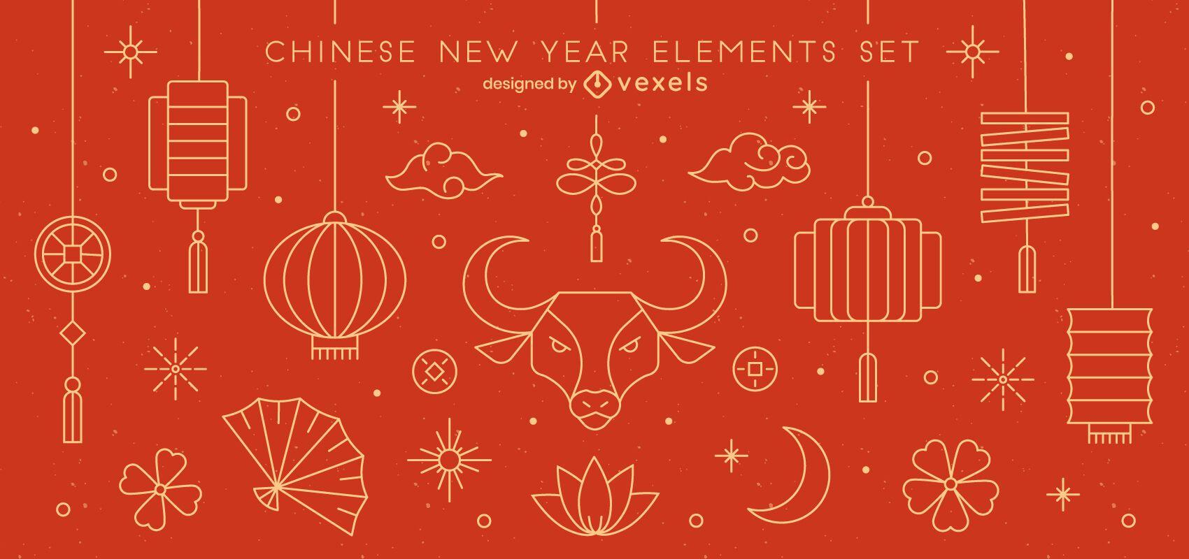 Paquete de elementos de trazo de año nuevo chino