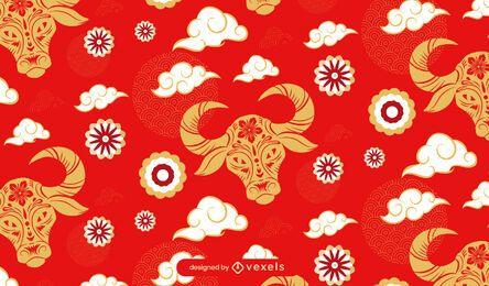 Año del diseño del patrón de buey.