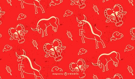 Chinese new year ox pattern design