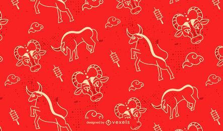 Desenho de padrão de boi de ano novo chinês