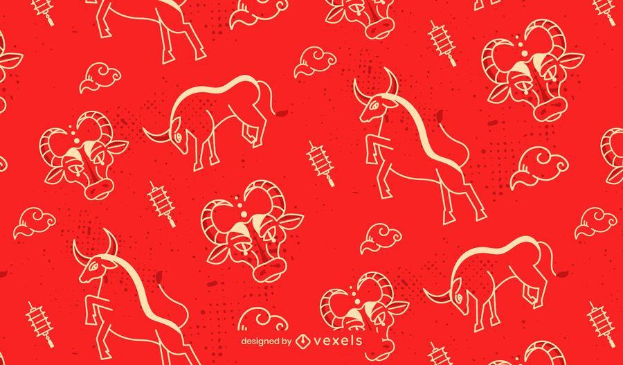 Diseño de patrón de buey de año nuevo chino