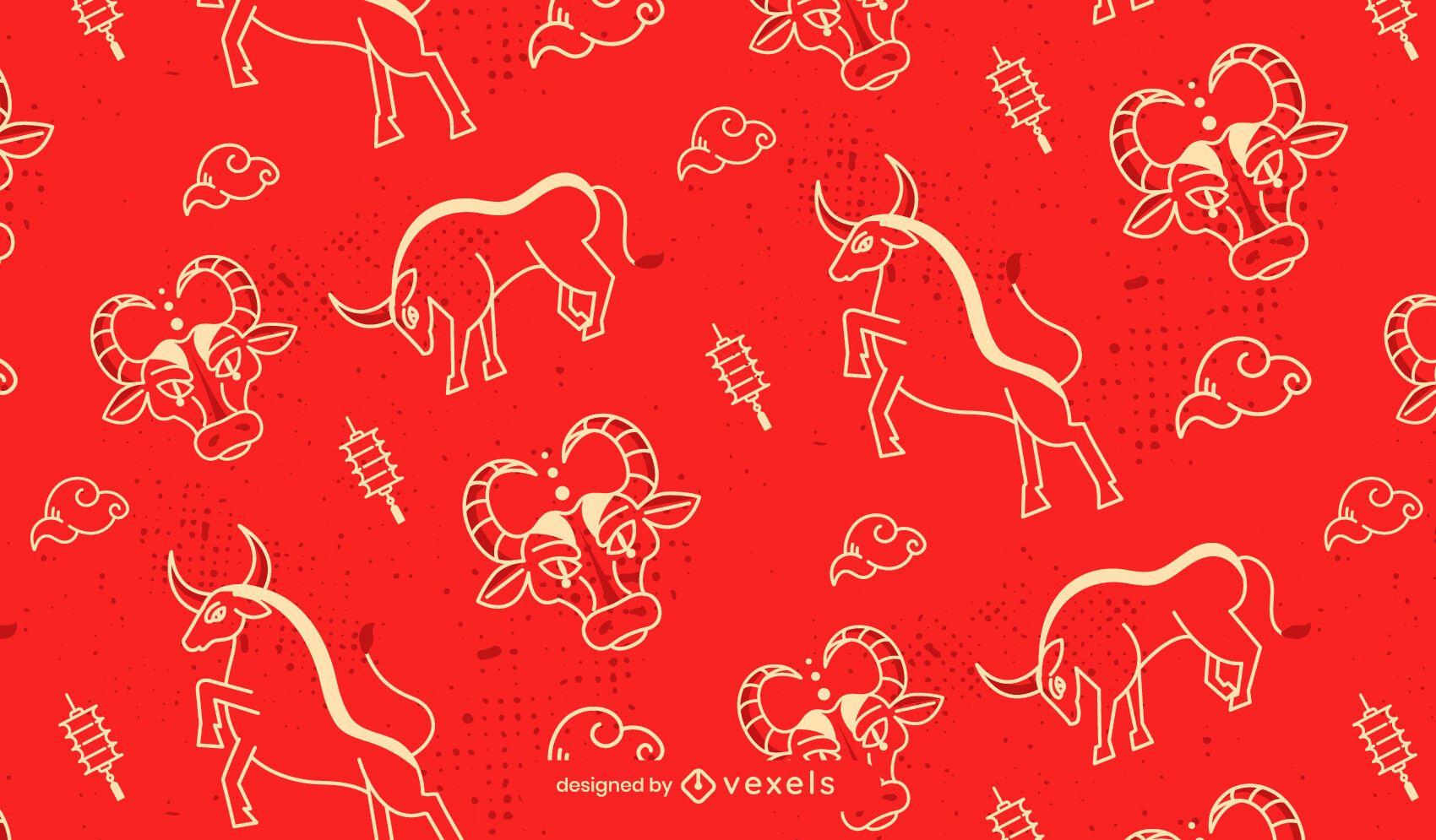 Chinese new year ox pattern design