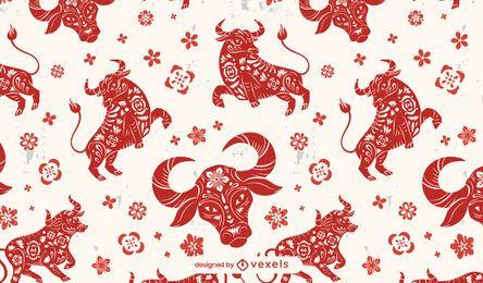 Ano do boi padrão chinês design